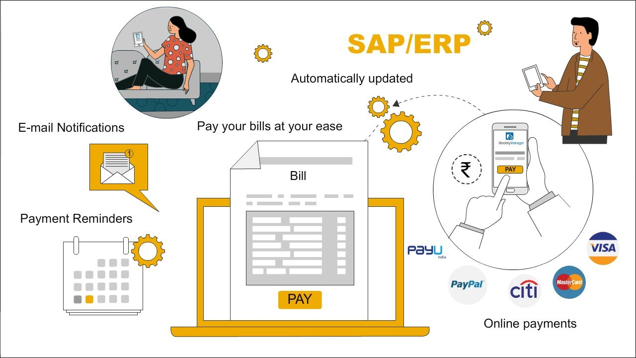 payment, online payment, sap erp integration jaypee billing system, isociety manager billing