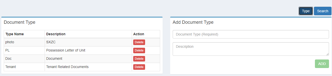 add new document type, document category
