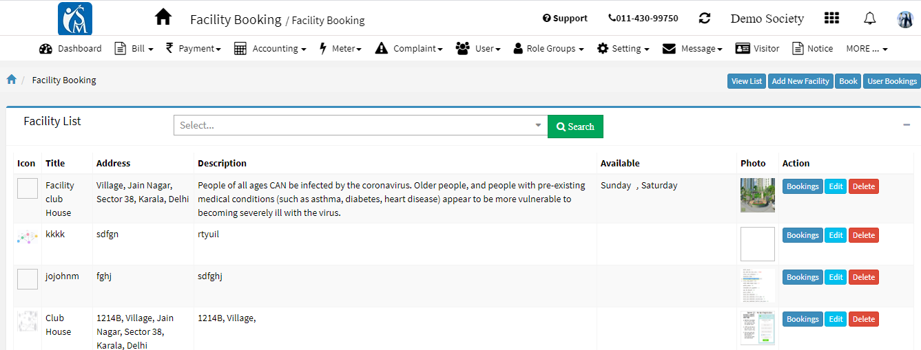 amenity booking dashboard, facility booking dashboard