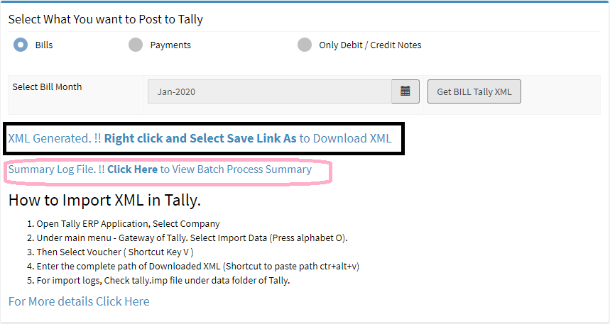 tally integration, post bill to tally, post payments to tally