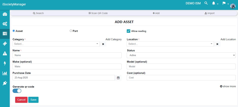 add new asset part generate qr code